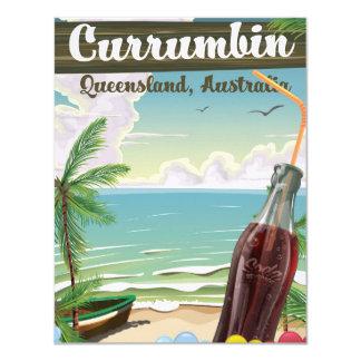 Currumbin Australia vintage travel poster 11 Cm X 14 Cm Invitation Card