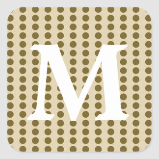 Curry Spice Moods Dots with Monogram Initial Square Sticker