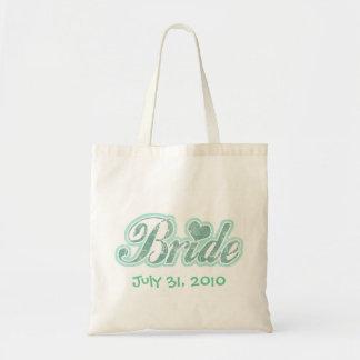 Cursive Bride Aqua Tote Bag