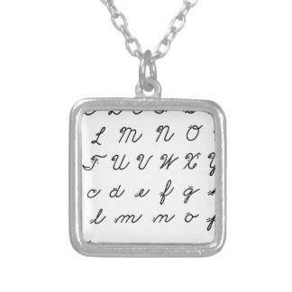 cursive handwriting chart silver plated necklace