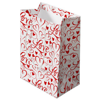 Cursive Love and Red Hearts Valentine's Day Fabric Medium Gift Bag