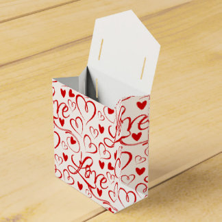 Cursive Love and Red Hearts Valentine's Day Party Favour Boxes