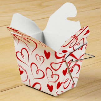 Cursive Love and Red Hearts Valentine's Day Wedding Favour Box