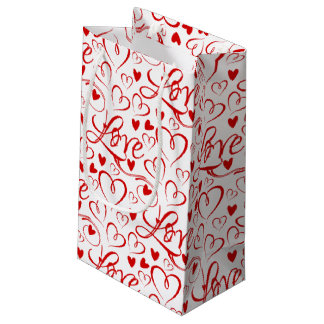 Cursive Love and Red Hearts Valentine's Gift Bag