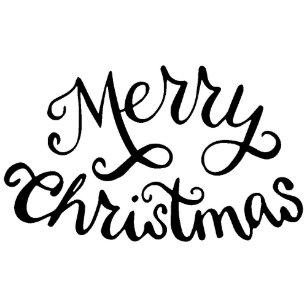 cursive script merry christmas rubber stamp