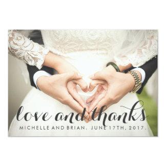 Cursive Wedding Photo Thank You Card