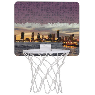 Curtain coming down mini basketball hoop