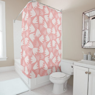 Curtain of Floral Bath in Rosa Pink