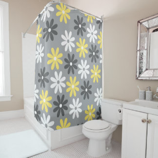 Curtain of Warm White and Gray Bath Floral Shower Curtain