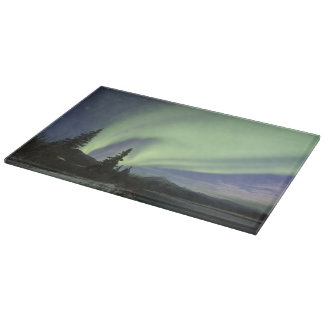 Curtains of green aurora borealis in the sky 2 cutting board