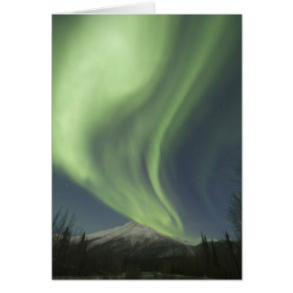 Curtains of green aurora borealis in the sky card