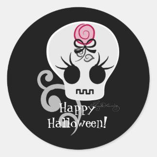 Curte Gothic Emo Skull Round Sticker
