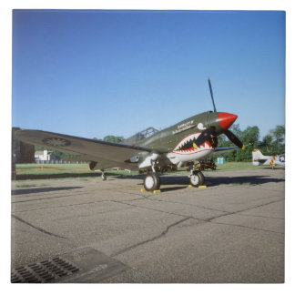 Curtiss P-40 Warhawk, at Minnesota CAF Air Show Large Square Tile