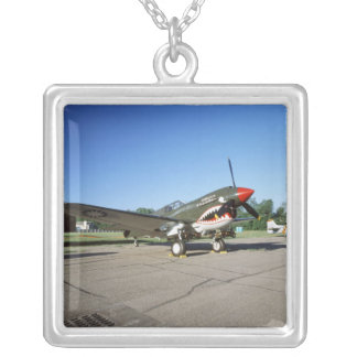 Curtiss P-40 Warhawk, at Minnesota CAF Air Show Square Pendant Necklace