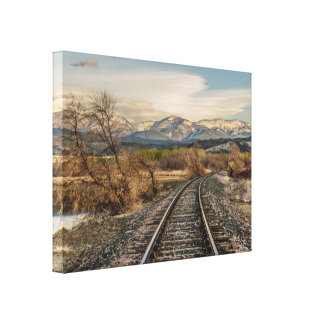 Curve in the Tracks - Railroad Tracks - Mountains Canvas Print