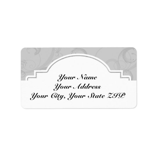 Curved Art Deco Diva in Silver Grey Address Label