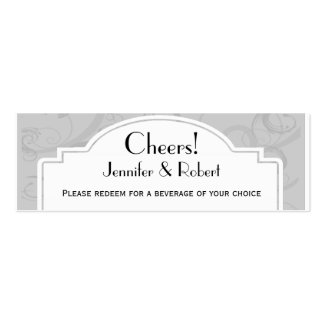 Curved Art Deco Diva Silver Wedding Drink Tickets Business Card Templates