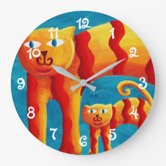 Curved Cats Large Clock