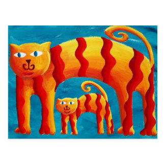 Curved Cats Postcard