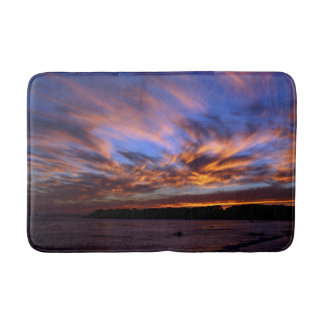 Curved Clouds Sunset Bath Mat