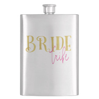 Curved Gold Pink Bride Tribe Hip Flask
