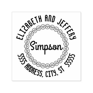 Curved Name and Address Heart Circle Self-inking Stamp