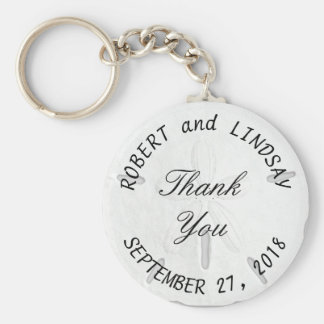 Curved Text Sand Dollar Wedding Favor Basic Round Button Key Ring