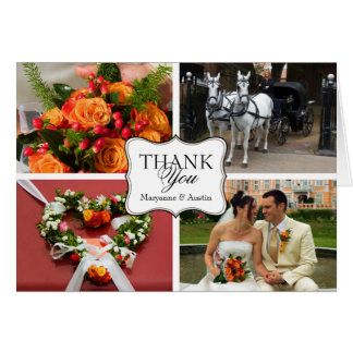 Curved thank you 4 photo montage personal note card