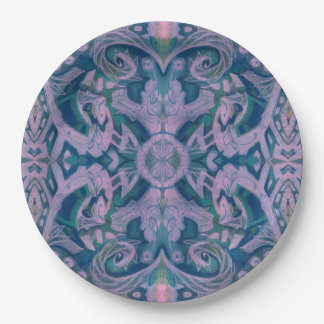 Curves & Lotuses, abstract floral, lavender & blue Paper Plate