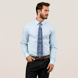 Curves & Lotuses, abstract floral, lavender & blue Tie