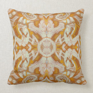 Curves & Lotuses, abstract floral pattern, yellow, Throw Pillow
