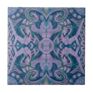 Curves & Lotuses, abstract pattern lavender & blue Ceramic Tile