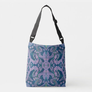 Curves & Lotuses, abstract pattern lavender & blue Crossbody Bag