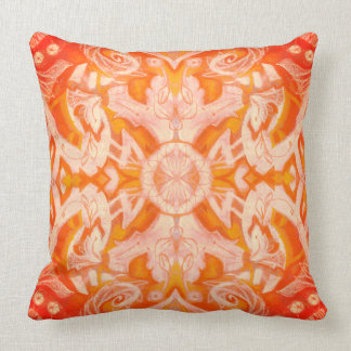 Curves & Lotuses, abstract pattern, yellow orange Throw Pillow