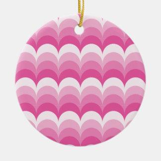 Curvy waves pink ceramic ornament