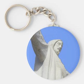 cusco jesus sky blue basic round button key ring