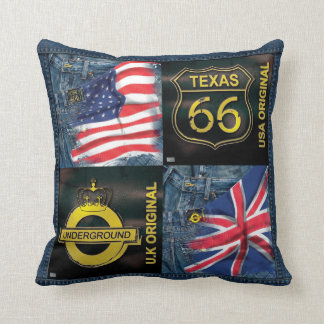 Cushion American and English flag and jean Throw Pillows