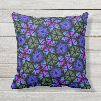 Cushion caré blue green and mauve