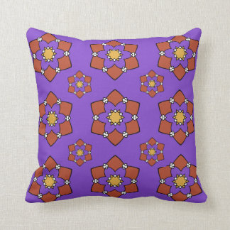 "Cushion déco 1 face ""Rosette"", purple and Throw Pillow"
