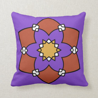 "Cushion decorative, ""Rosette"", purple and Throw Pillow"