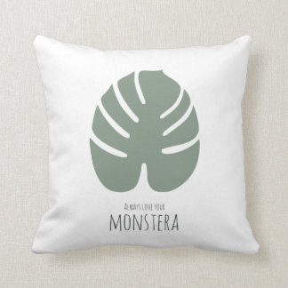 """Cushion from cotton """"Monstera Love"""" 41x41cm"""