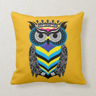 Cushion the Art of the Colored Cosmic Owl Turns