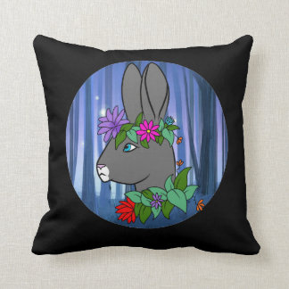 Cushion with a hare and a cat