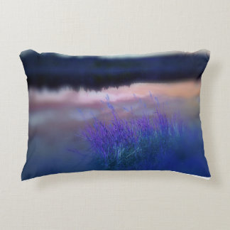 Cushion with abstract lakeshore