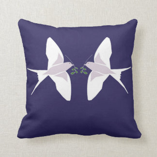 Cushion with swallows coming home for Christmas