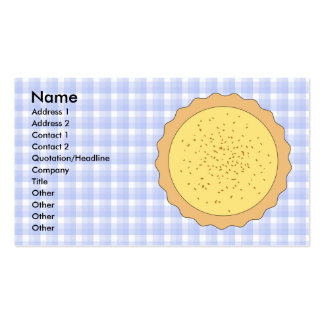 Custard Pie. Yellow Tart, with Blue Gingham. Pack Of Standard Business Cards