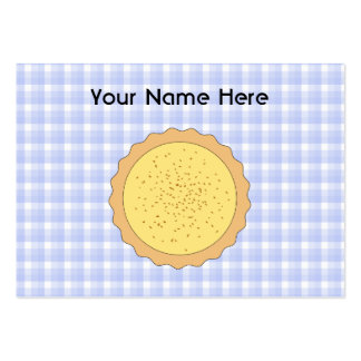 Custard Pie. Yellow Tart, with Blue Gingham. Large Business Cards (Pack Of 100)