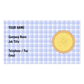 Custard Pie. Yellow Tart, with Blue Gingham. Double-Sided Standard Business Cards (Pack Of 100)