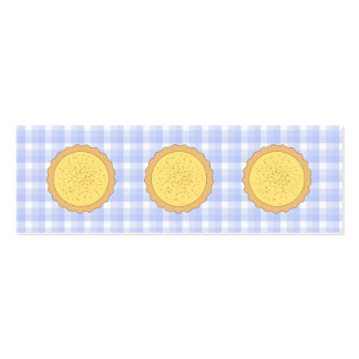 Custard Pie. Yellow Tart, with Blue Gingham. Pack Of Skinny Business Cards