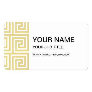 Custard Yellow and White Greek Key Pattern Business Card Template